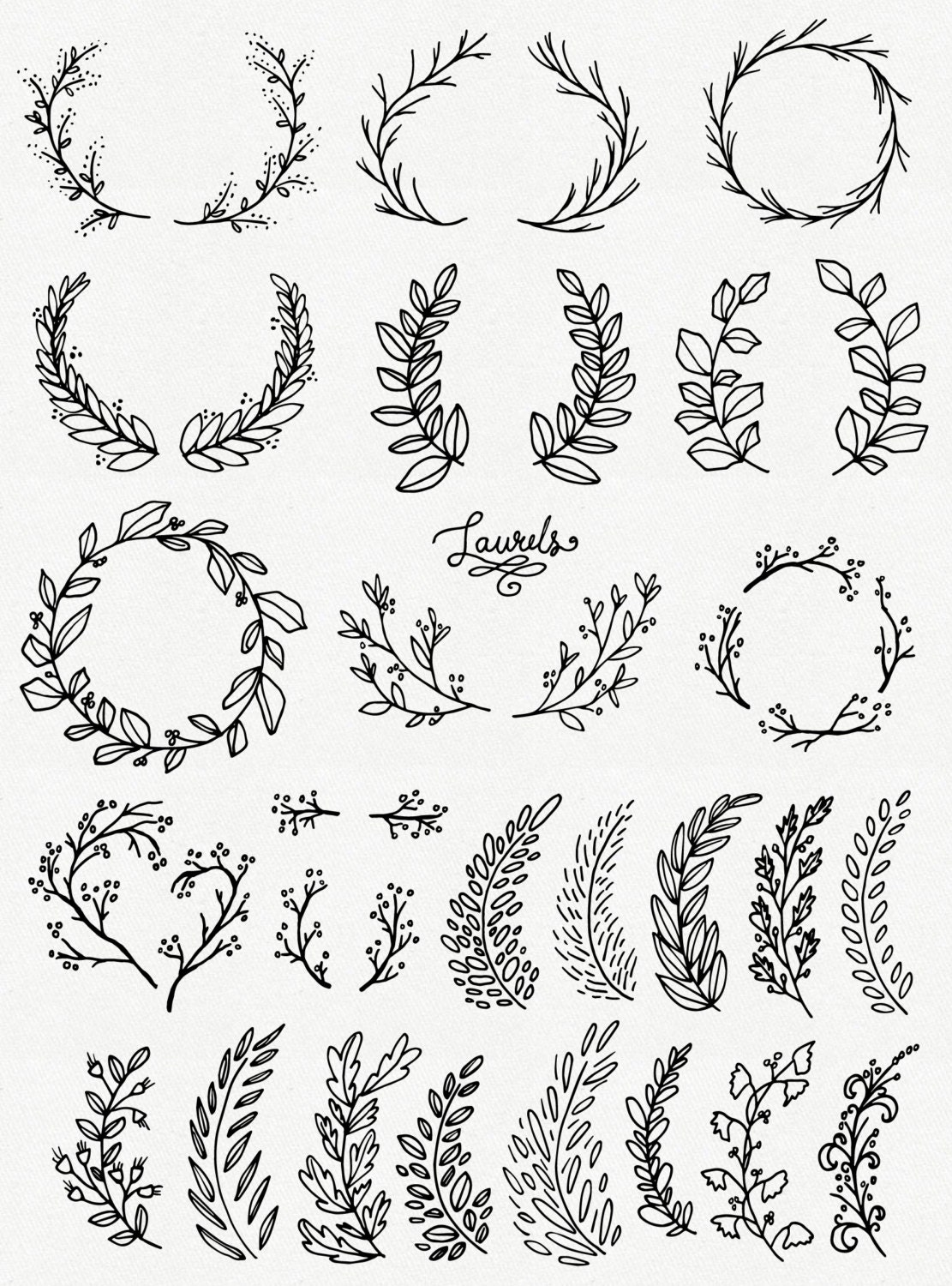 CLIP ART: Whimsical Laurels & Wreaths // Photoshop Brushes