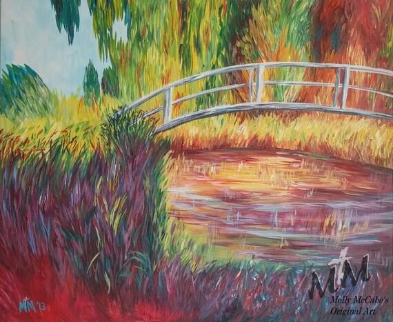 """Recreación del """"Jardín japonés"""" de Claude Monet. Hecho a la medida. 16 x 20 pintura Original sobre lienzo."""