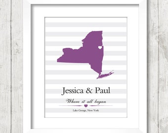 8x10 New York State Wedding Print - Lake George, New York - Destination Wedding - Engagement & Anniversary Gift - Bride and Groom - Love Map