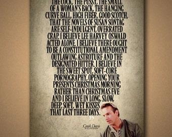 """BULL DURHAM Crash Davis """"I Believe"""" Quote Poster"""