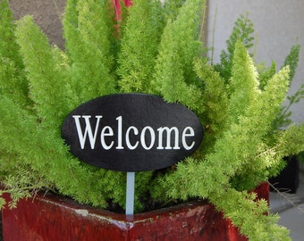 Welcome Engraved Wood Sign