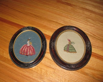 VICTORIAN NEEDLEPOINT (2) In Original Oval Frames 1800's