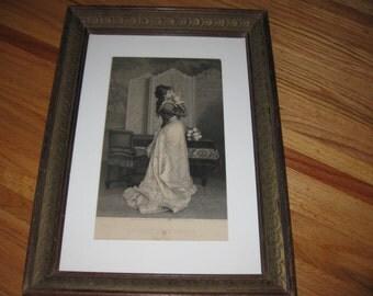 """1879 Engraving LA LETTER D'AMOUR 20 1/2"""" X 14 3/4"""" Antique Frame"""