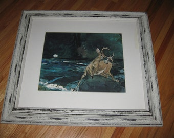 "WINSLOW HOMER PRINT A Good Shot Adirondacks 1892  In Vintage Frame With Worn White Paint Measures 28 1/4"" x 25 1/4"""