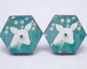 Wooden Hexagon Earrings Vintage Inspired Little White Deer On A  Blue Backgound – Handmade – Everyday Earrings - Light Weight