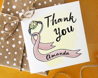 Bridesmaid Favor Thank You Card Gift Tag with Calligraphy