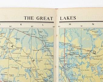 Vintage Lake Map Etsy - Us map great lakes