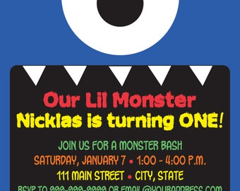 Lil Monster Invitation - 2 colors available