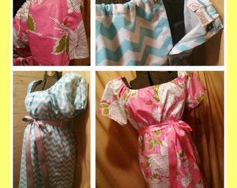 Custom Maternity Hospital Gown w/ shoulder & back snaps