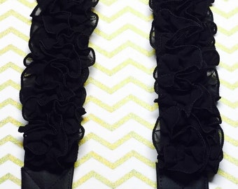 Black Ruffle Camera strap