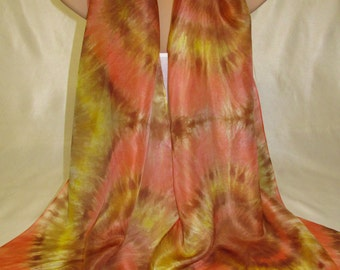 Yellow & Orange Hand painted Pure Silk Scarf