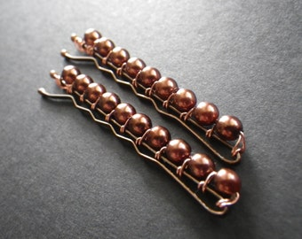 Natural Brown- Glass Pearls- Beaded Bobby Pins- Fall Trends- Hair Style- Fashion Accessory- Gift for Her- Woman- Mother's Day