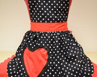 Retro Vintage 50s Style Full Apron / Pinny - Black & White Polka Dot with Red Trim with Heart Shaped Pocket
