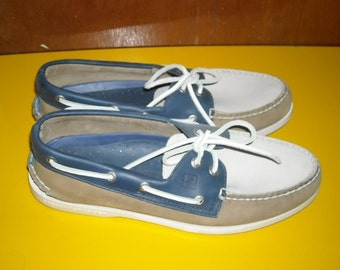 Mens Vintage Sperry Topsider Top sider Boat Deck Shoes 9 Three Color Nubuck