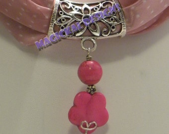 Rasberry Blossom - Scarf Jewelry - string this pendant on your favorite scarf to bring spring-time fashion