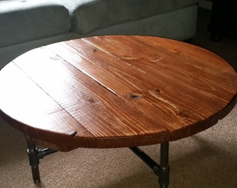 """Industrial Pipe Leg Round Dining Table 36"""""""
