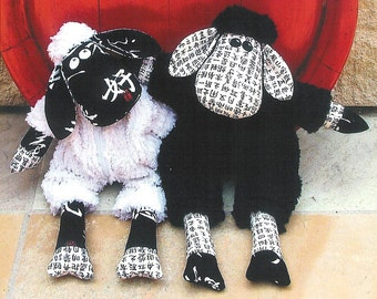 """Pattern """"Black Sheep, White Sheep?"""" Stuffed Toy, Soft Sculpture, Cloth Toy Sewing Pattern by Melly & Me (MM055)"""