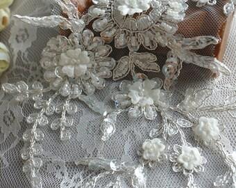 Beaded lace applique for bridal veil ,wedding sash, bridal garters