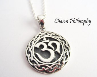 Celtic Om Necklace - 925 Sterling Silver Jewelry - Meditation and Yoga Jewelry