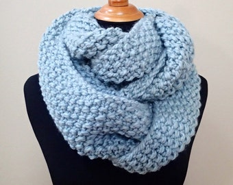 Hand Knit Bulky Cowl in Ice Blue