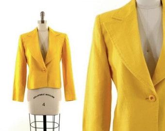 yellow YSL jacket •  Saint Laurent Rive Gauche linen blazer • designer yellow jacket M