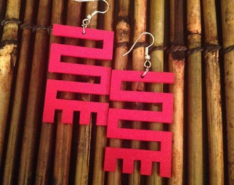 Afrocentric Jewelry -  Hand painted Adinkra Earrings