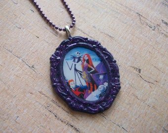 Nightmare Before Christmas Inspired Hand Poured Resin Necklace