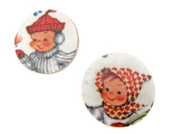 Handmade Christmas Brooch, Pin, Decoupage Christmas Brooch, Pin, Winter, Children, Holiday, Christmas Jewelry, 1960's Christmas