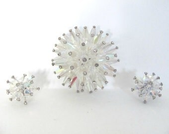 Vintage Starburst Brooch, Earrings Set, 1960's Vendome Starburst Brooch, Pin, Clip On Earrings, Atomic Brooch, 1960's Earrings