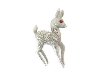Vintage Deer Brooch, Pin, 1960's Mamselle Deer Brooch, Pin, Silver Deer Brooch, Animal Brooch, 1960's Brooch, Jewelry