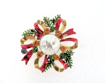 Vintage Christmas Bow Brooch, 1970's Enamel and Rhinestone Bow Brooch, Red Bow Brooch, Pin, Christmas Pin, Holiday Jewelry