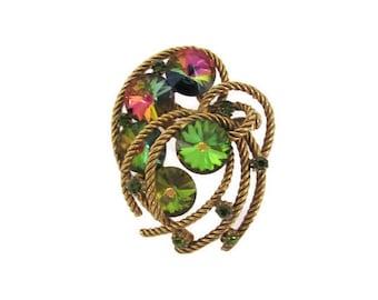 Vintage Rivoli Brooch, 1960's Watermelon Rivoli Rhinestone Brooch, Gold Rope Brooch, Pin, 1960's Brooch, Earrings