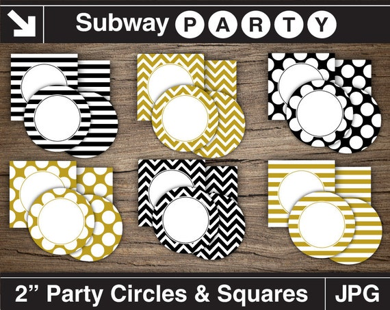 gold black and white adult party circles and squares