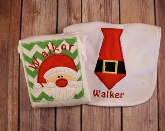 Boy's Christmas Shirt and Bib, Santa Shirt, Boy's Santa Shirt Bib, Santa Tie, Monogrammed Boy's Christmas Shirt, Personalized Christmas