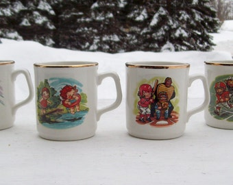 Vintage 1982 The Campbell Kid Collection Kids at Play Coffee Mugs Series 1 Set of 4