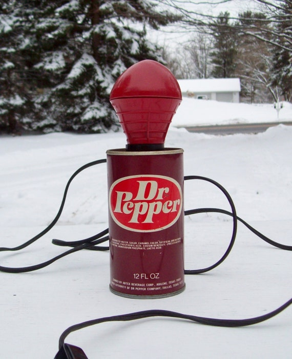 Dr Pepper Lamp : Vintage dr pepper soda pop can portable lamp by