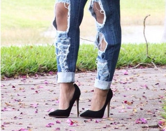 Distressed Denim Jeans Celebrity Inspired Stretch Skinny Leg Ripped Sexy Fit Curves Like A Glove Perfect Fit Jean Birthday Girl Outfit