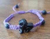 Black Lion with Purple Hemp Beaded Bracelet Sliding Clasp Mens and Womens