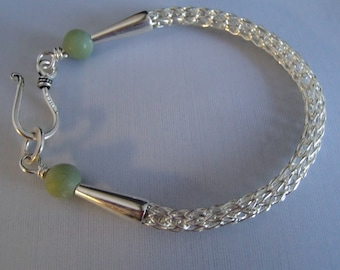 Viking Knit weave Bracelet Sterling Silver with Jade beads handmade