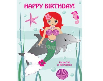 Mermaid Pin the Tail on the Little Mermaid Ariel Birthday Game INSTANT DOWNLOAD