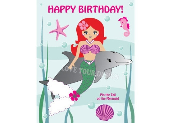 Mermaid Pin The Tail On The Little Mermaid Ariel Birthday Game