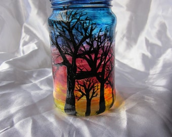 Upcycled hand-painted jar, 'Sunset Trees', tealight container or ornament.
