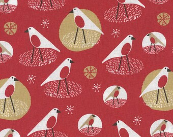 Festliche Robins Print Stoff - halben Meter - 100 % Baumwolle - Weihnachten reichen rot - Steppung Flickwerk Handwerk Ammer Puppe Spielzeug Dekoration