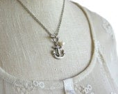 anchor necklace / silver anchor necklace with freshwater pearl / nautical jewelry / navy mom / sailor necklace / navy girlfriend / navy wife