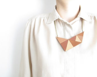 Brown Geometric Leather Necklace statement leather necklace