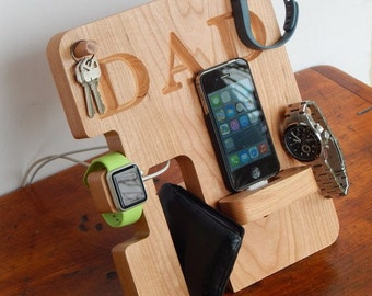 Personalized Phone and Apple Watch Docking Station - Made from Real Hardwood! - Father's Day Gift, Men's Gift, Groomsmen Gift