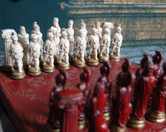 Greek Mythology Chess set, Customisable Colours (Pieces only/Board Not Included) Zues, Hera, Aries, Centaur. Hoplite