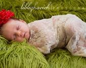 Newborn Photography Prop Faux Fur Luxury Shag Green- Newborn Prop - Photo Prop Fabric Large Basket Filler