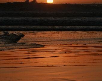 "Fine Art Photo - Title: ""Pacific Dusk 2"" - portrait, california, moonlight beach, SoCal, sunset, peaceful, ocean, pacific, orange, sunlight"