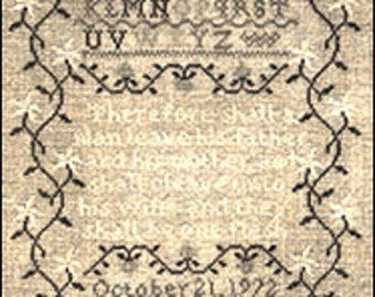 Words of Praise Marriage Sampler Primitive Counted Cross Stitch Charted Design Kit